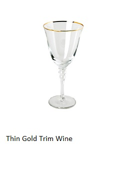 Thin Gold Rim White Wine Glasses