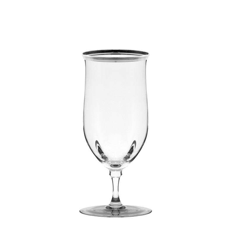 Thin Silver Trim Beverage Glass